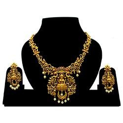 Unique Matte Plated Laxmi Ji Temple Necklace NS-5957-162