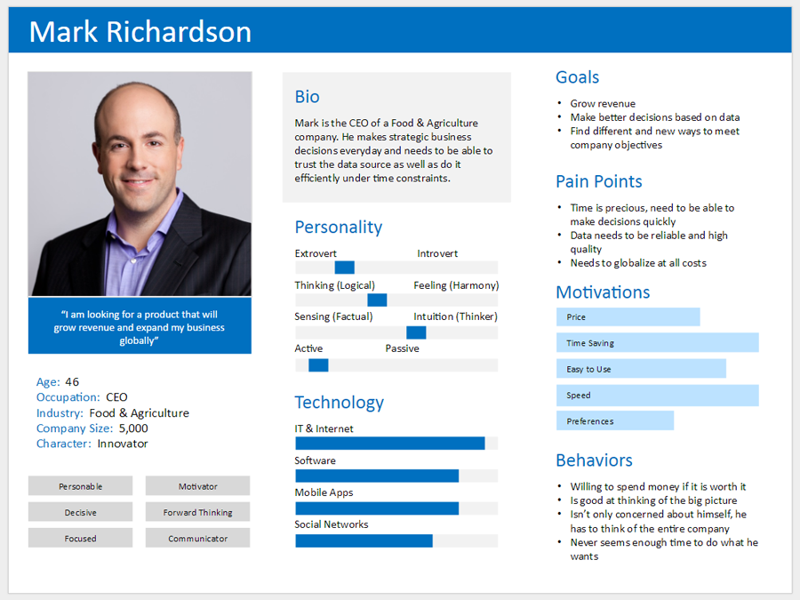 Buyer persona example - a photo of a man in a suit, with various attributes described, such as age, character, biography, personality, etc., used to help businesses understand their customers