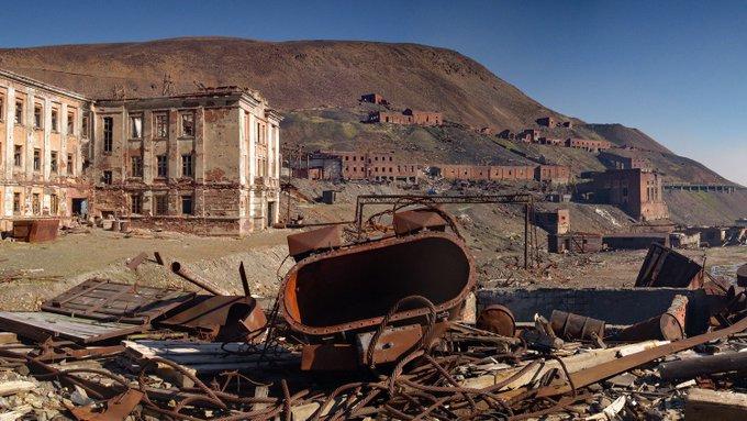 23. Ugolny Ruchei hayalet şehri, Norilsk yakınlarında eski bir kömür madeni bölgesi.