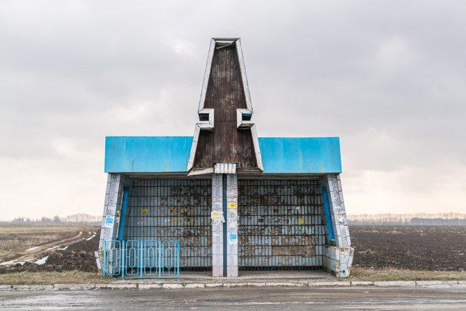 6. Brüstalist tarzda bir otobüs durağı. Chornobai, Ukrayna.