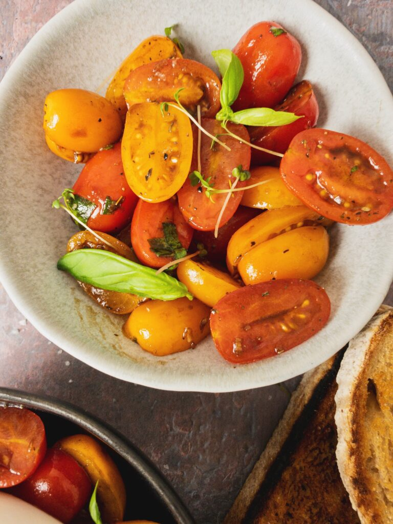 Marinated Cherry Tomatoes with Burrata