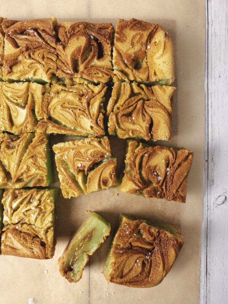 Pandan Butterscotch Mochi Bars