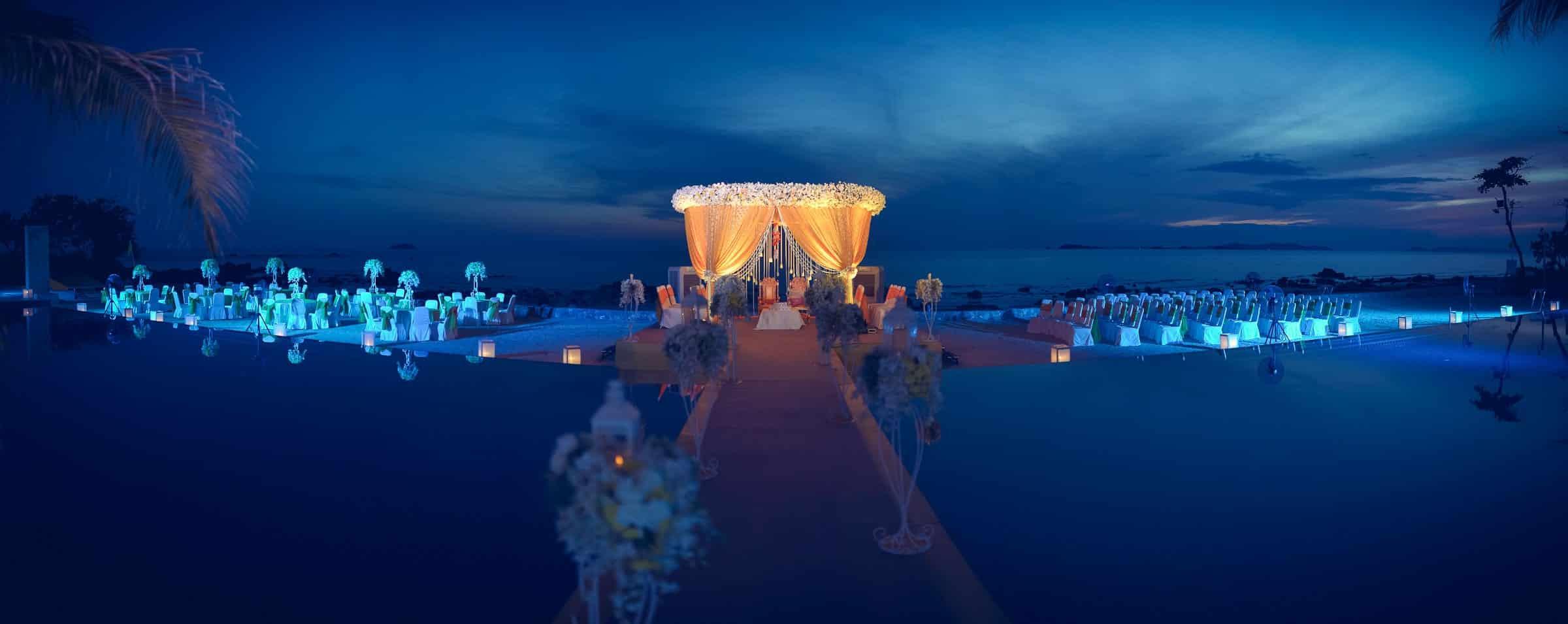Best Destination Wedding Photographer Rayong Mariott | Indian Venue Decor Panorama Photography Thailand