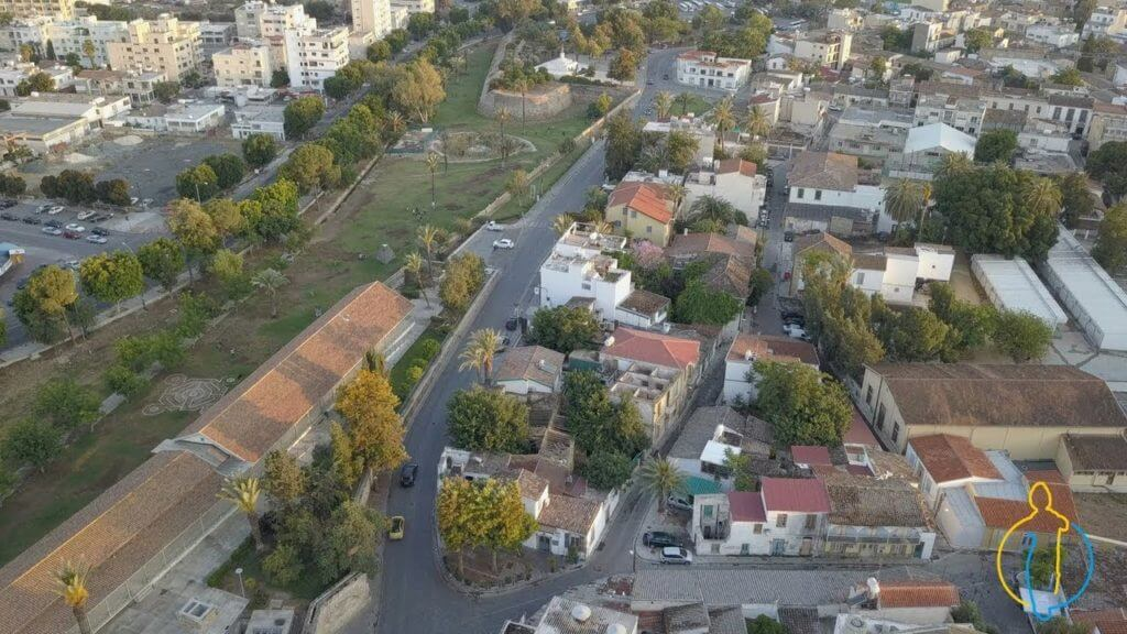 Nicosia - Lefkosia - Famagusta Gate - The Island of Cyprus Aerial Birds Eye View During the Sunset