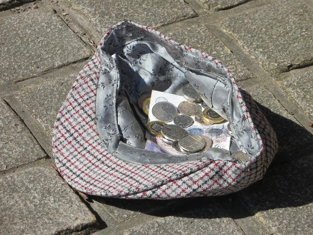 busker, hat, money