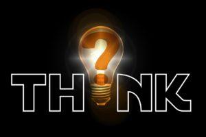 question mark, pear, think