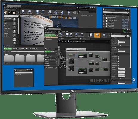 Unreal Editor on a screen