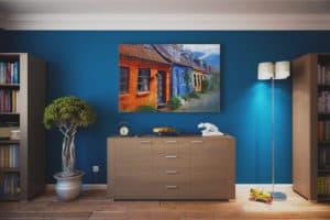 habitacion pared azul