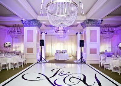 Themed dance floor and table and chairs