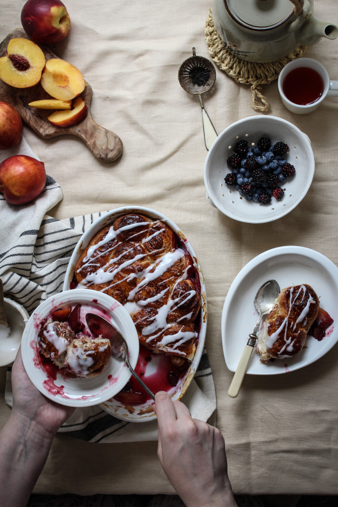 nectarine berry cinnamon roll bake-1-12