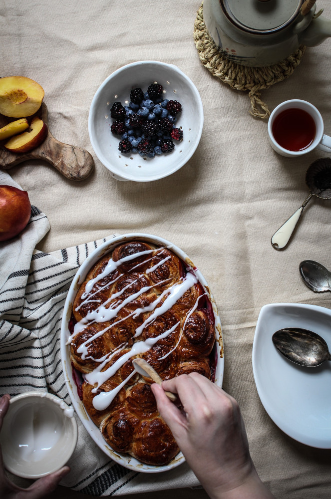 nectarine berry cinnamon roll bake-1-2