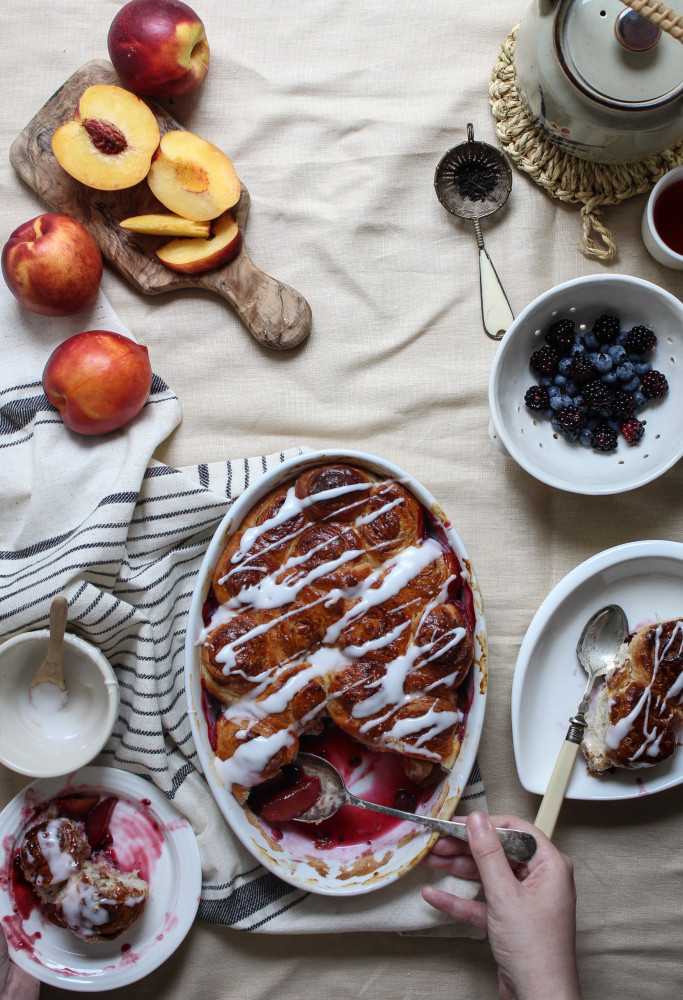 nectarine berry cinnamon roll bake-1-9