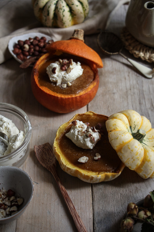 pumpkin pies baked inside squashes-1-7