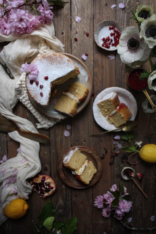 lemon pomegranate hibiscus curd filled cake-1-23