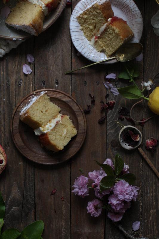 lemon pomegranate hibiscus curd filled cake-1-25