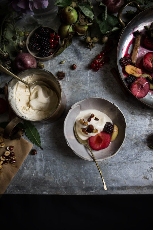 earl grey icecream with spiced fruit-1-1