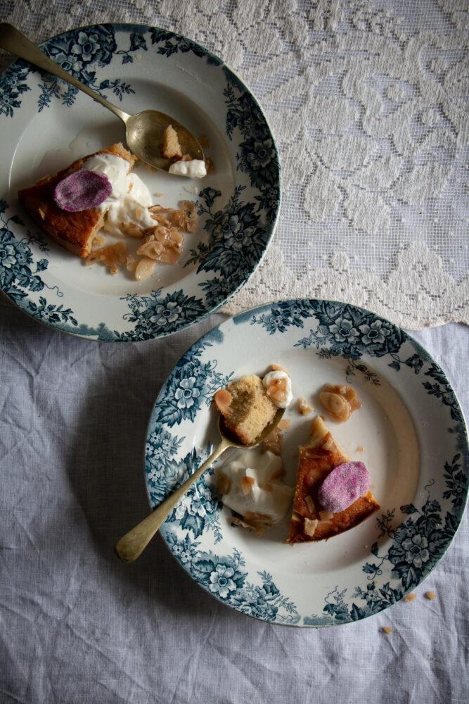 moist semolina almond cake with wild rose syrup