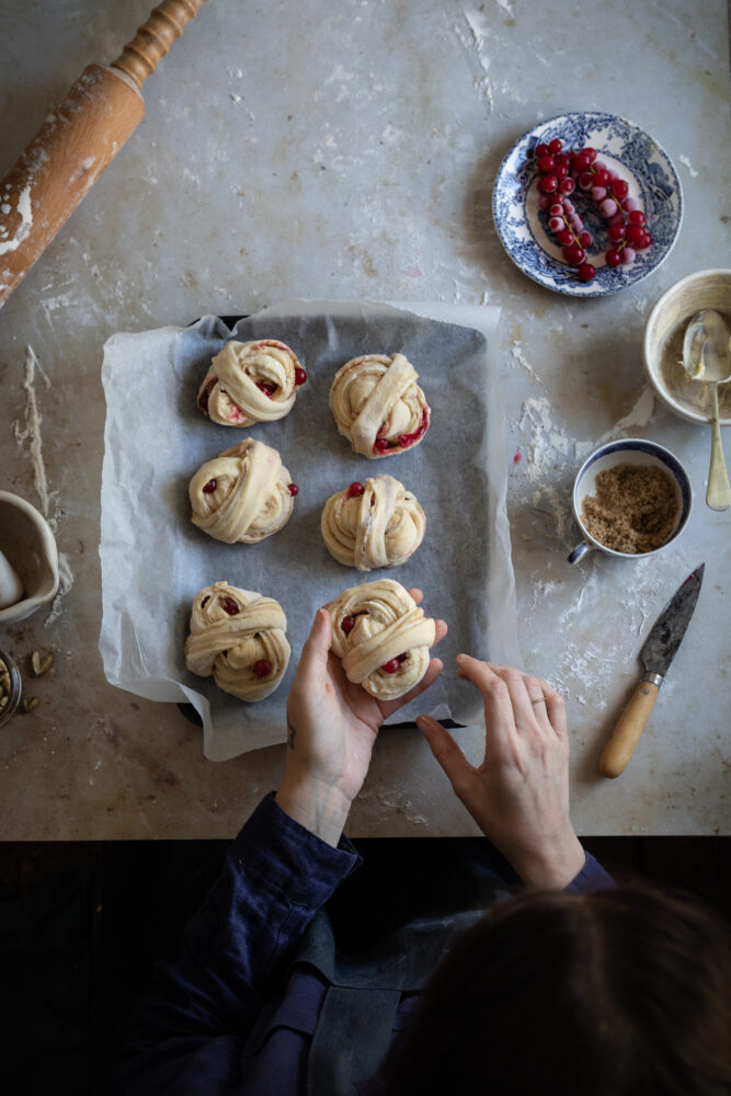 cardamom red current buns