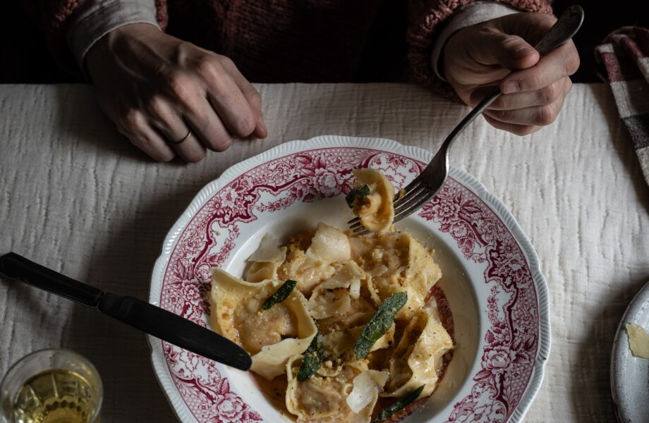Roasted chestnut and pumpkin cappeletti