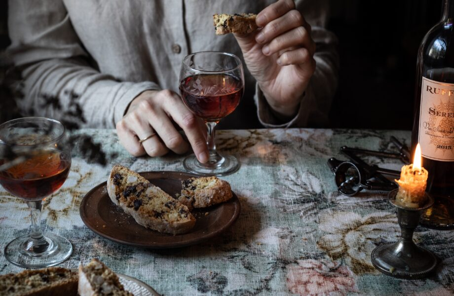 Hazelnut biscotti with orange fennel seed and chocolate