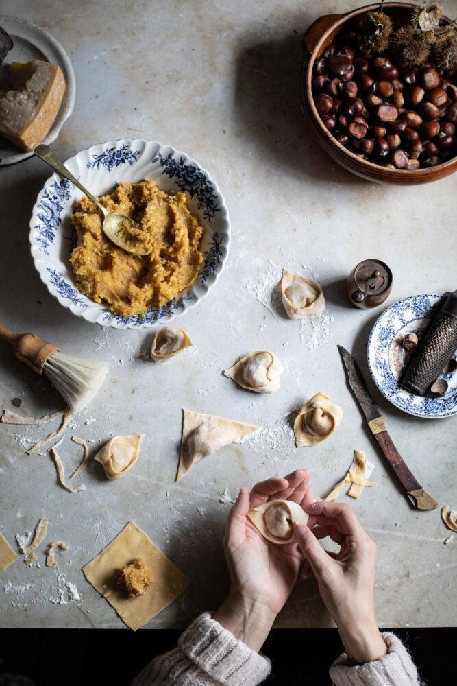 chestnut and pumpkin pasta