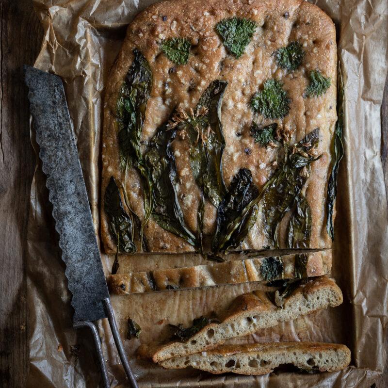 sliced sour dough focaccia