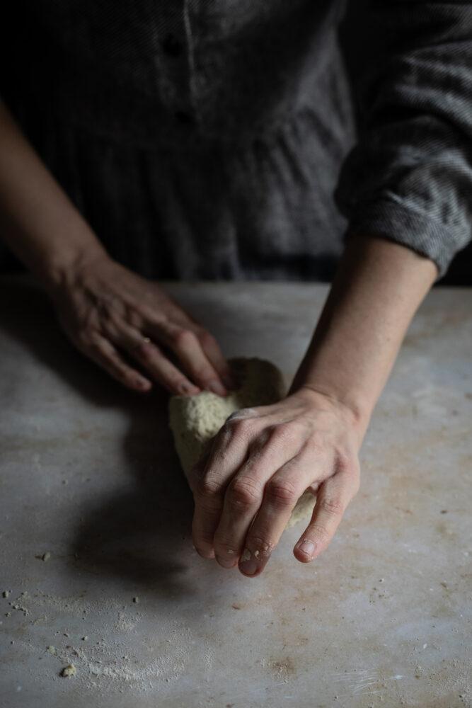 kneading pasta dough