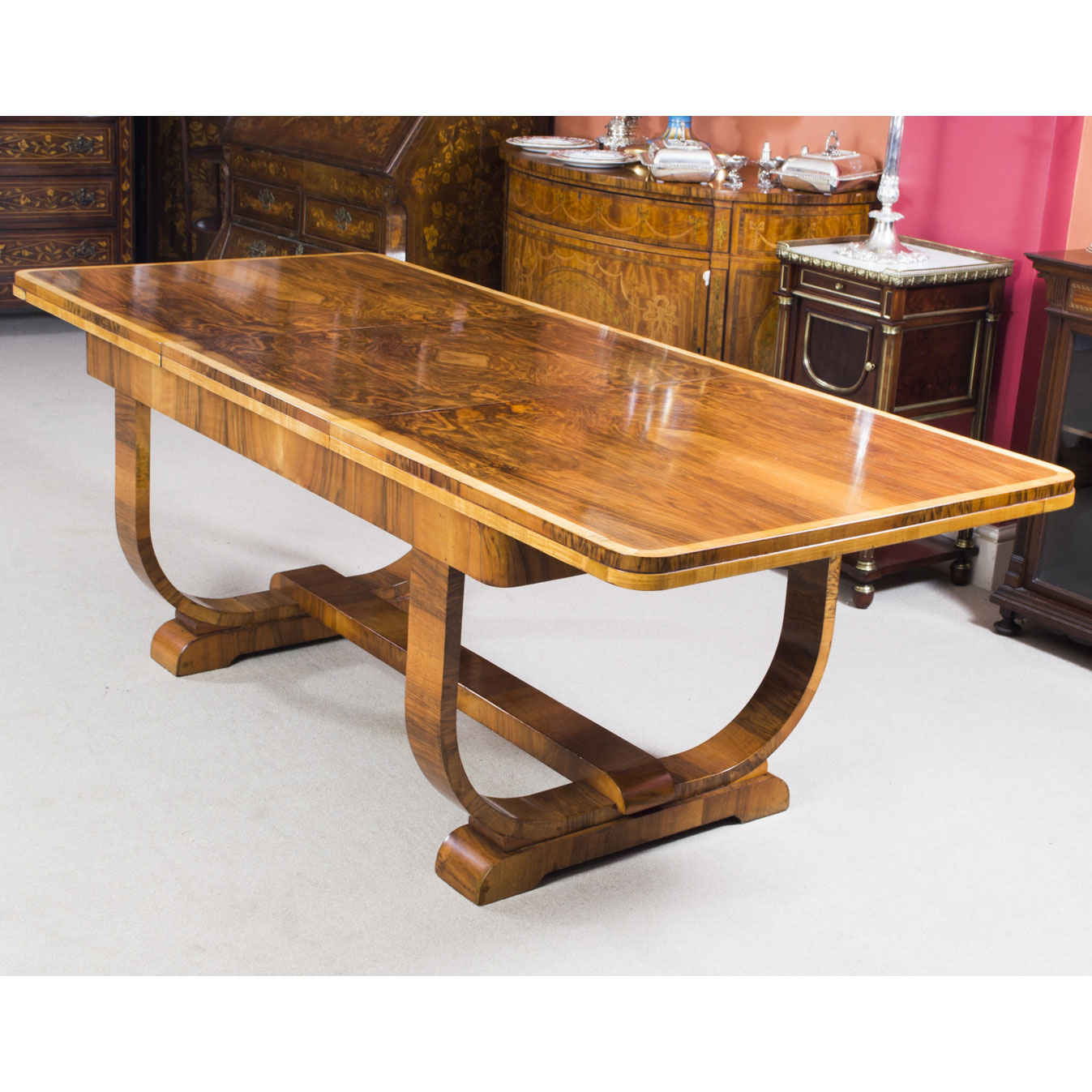 Antique Art Deco Furniture Walnut Dining Table