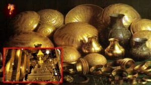 Padmanabswamy Golden Chair pots and crown