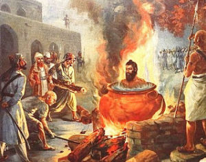 Guru Arjan Dev burnt
