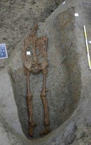 Image of the skeleton found in northern Italy, which may be the second known evidence of crucifixion.