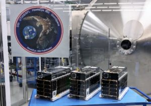 HawkEye 360's three microsatellites that will form its Pathfinder constellation.