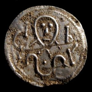 A coin from King Harald Bluetooth, about 975 to 980″. Photographed just as it came out of the earth.
