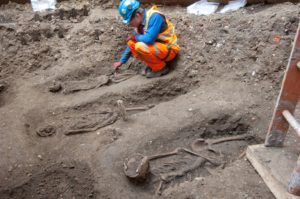 In addition to this recently unearthed 1348 Black Death burial ground (shown here), another one was discovered in the 1980s in east Smithfield, where more than 600 skeletons were removed for analyses.