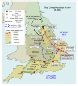 Invasion routes of The Viking Great Army, otherwise known as The Great Heathen Army by Anglo Saxon chroniclers