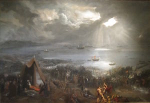 "The ""Battle of Clontarf,"" an 1825 oil-on-canvass painting, depicts the momentus battle fought in 1014."