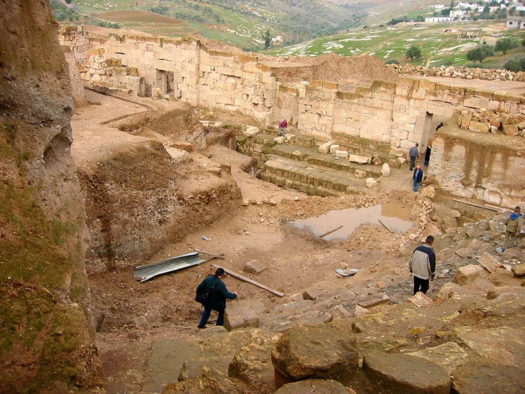 The theatre unearthed in the Hellenistic city of Capitolias, one of the ten Decapolises