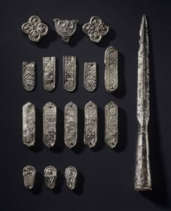 An ornamented double-edged sword and armor from the Longobards (also known as Lombards, a Germanic group) that archaeologists found in grave 6.