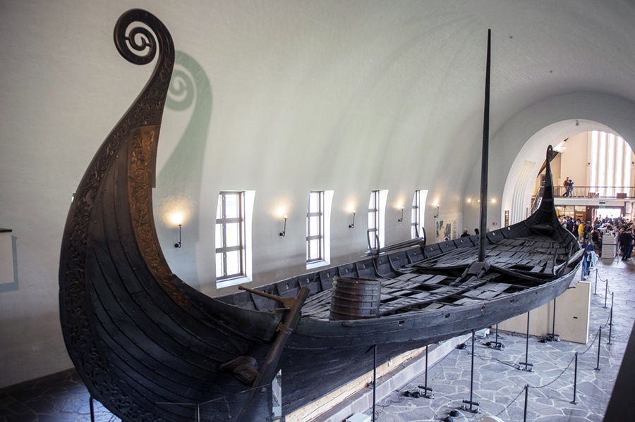 The magnificent Oseberg ship, now on display in Oslo.