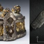 The box brooch on the left was found in a grave at Fyrkat, Denmark. The silver fitting discovered at Borgring, on the right, is almost identical to the ornamentation at the front of the Fyrkat box brooch.
