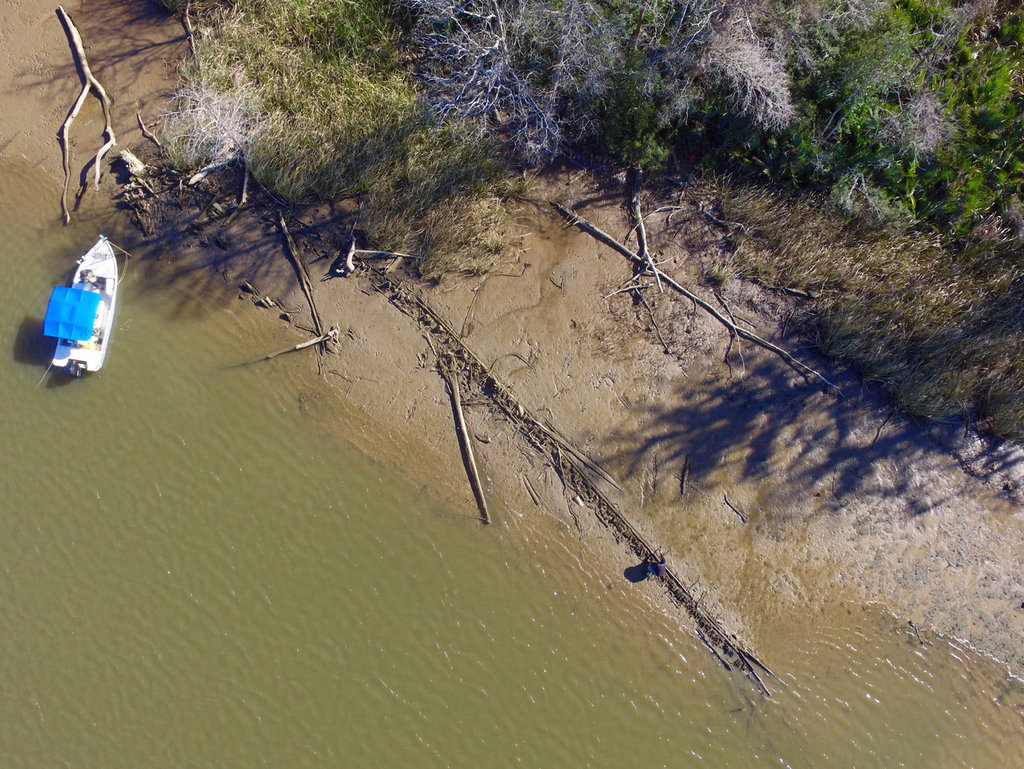 This bird's-eye view shows the current state of the possible slave ship, which is 124 feet (38 meters) long.