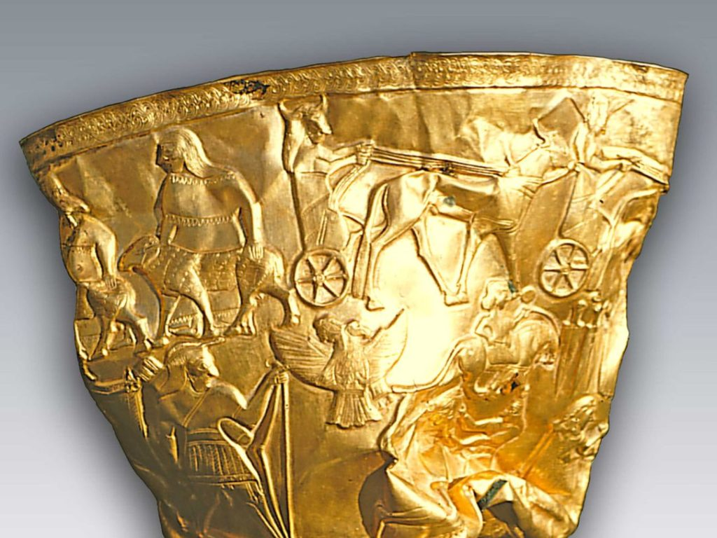 A golden bowl found by archaeologists in the ruins of Hasanlu. Courtesy of the Penn Museum