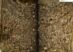 The mass grave at the Battle of Lutzen from the Thirty Year War was split in two and taken as huge blocks out of the earth. The photo shows the carnage and chaos, nearly four centuries after these 47 soldiers died brutally in the sectarian conflict.