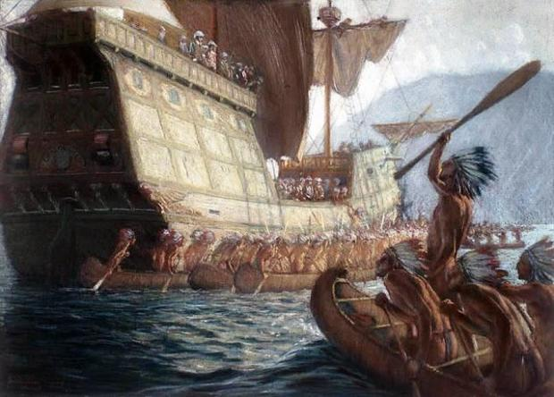 Artist's impression of The Gift of God, previously thought to be the first Scottish ship to cross the Atlantic to the New World.
