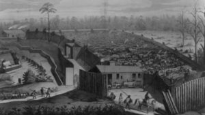 Harpers Weekly depiction of Andersonville Prison, 1865 (Library of Congress)