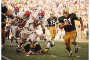 The Green Bay Packers are victorious over the Kansas City Chiefs during the first Super Bowl match in January 1967, at the Los Angeles Memorial Coliseum.