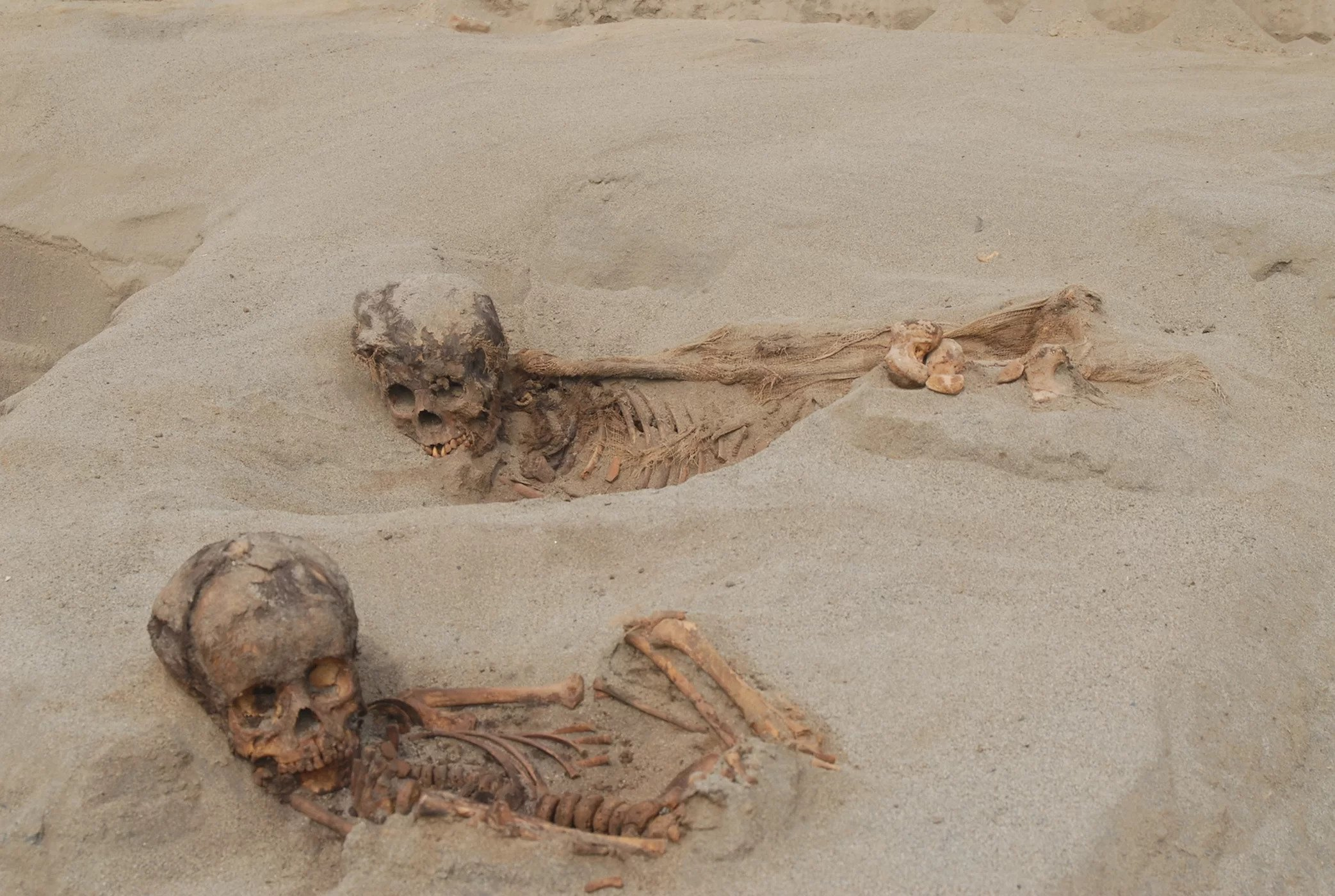 The remains of two children who were sacrificed in A.D. 1450 in what is now Peru.