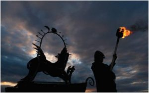 A Burning Wicker Wolf heralds the re-opening of the Jorvik Viking Centre. The centre was badly damaged during the 2015 flooding in the city and has since undergone extensive refurbishment work.