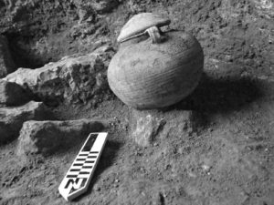 Roman cooking pot with the remains of a cremated Roman Legionary, found at the Roman military camp discovered at Legio