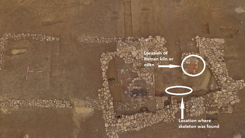 Snip showing locations where the skeleton and the Roman kiln were found.